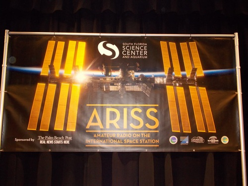 Banner showing sponsors of the ARISS contact